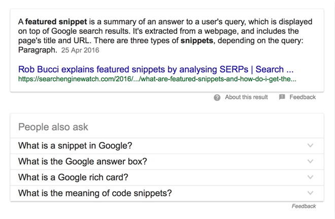 Featured snippets and Q&A